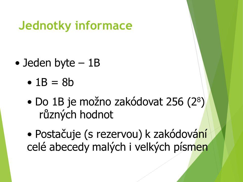 Jednotky informace Jeden byte – 1B 1B = 8b