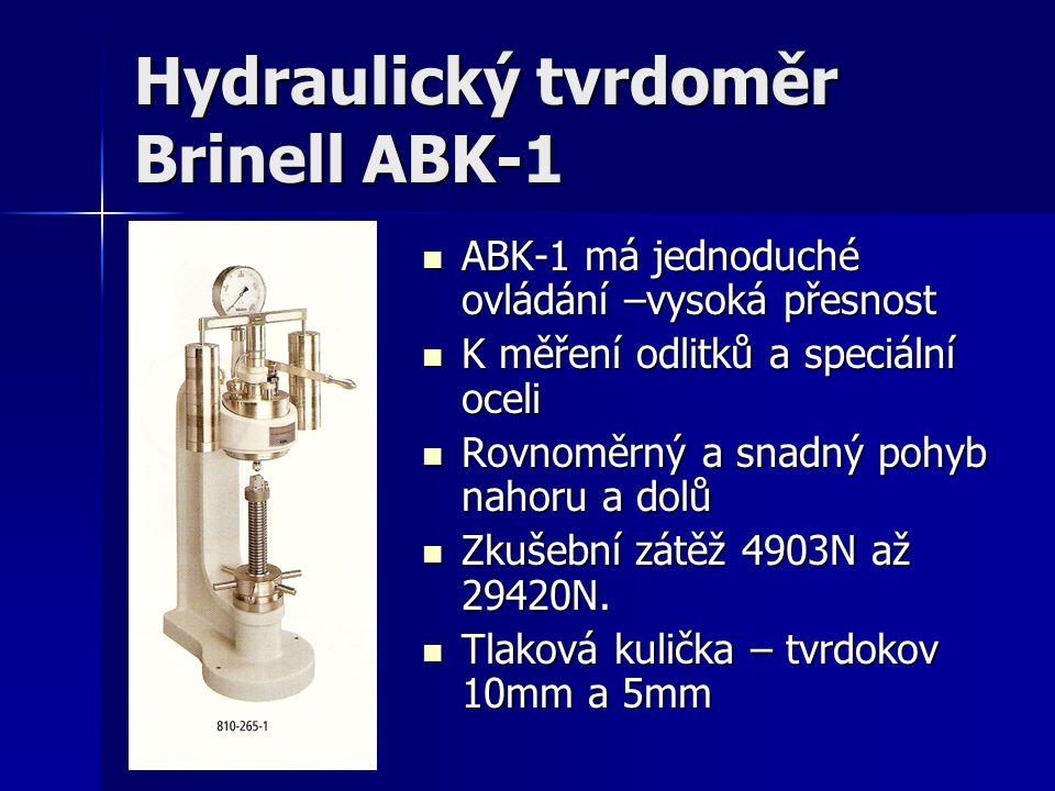 Hydraulický tvrdoměr Brinell ABK-1