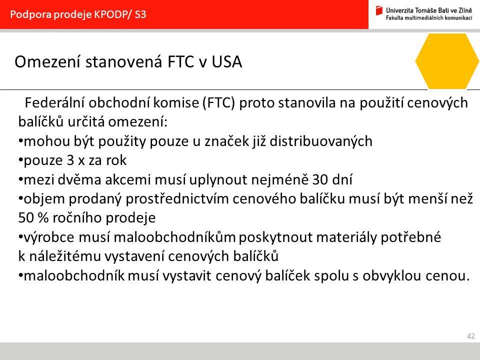 Omezení stanovená FTC v USA