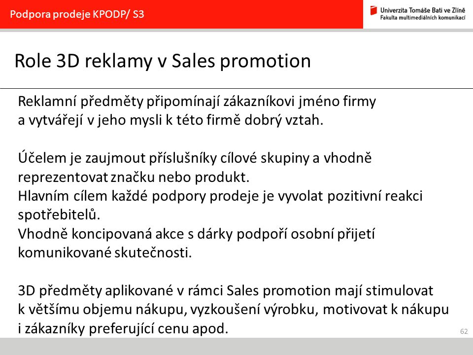 Role 3D reklamy v Sales promotion