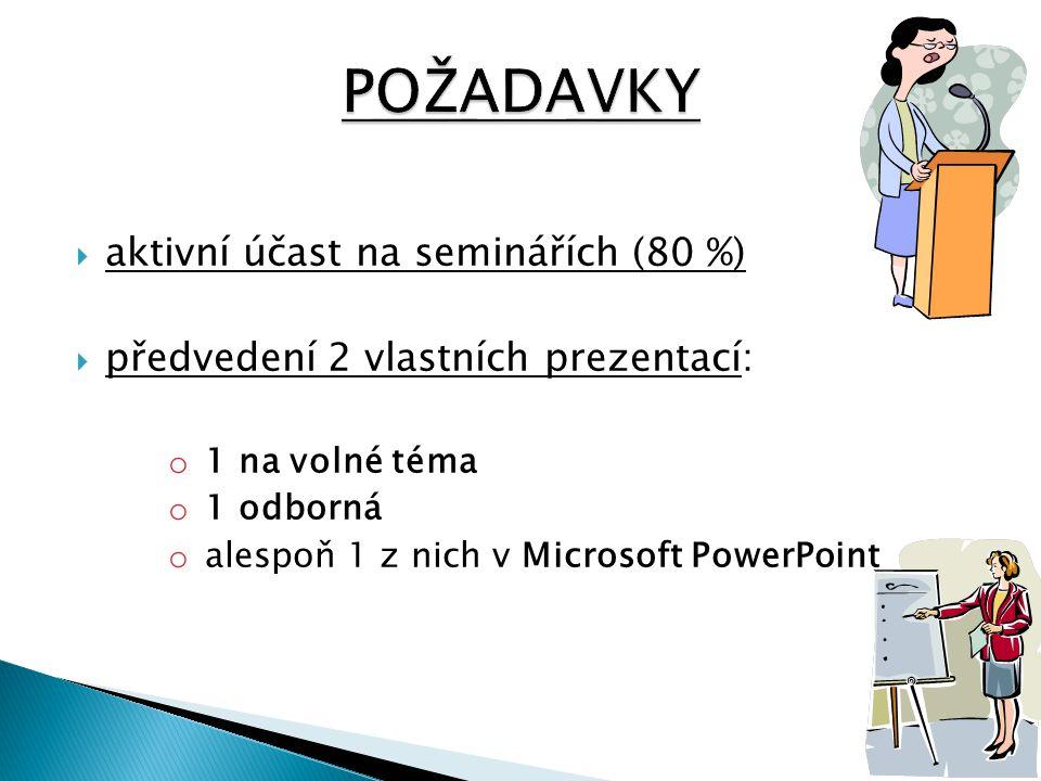 POŽADAVKY aktivní účast na seminářích (80 %)
