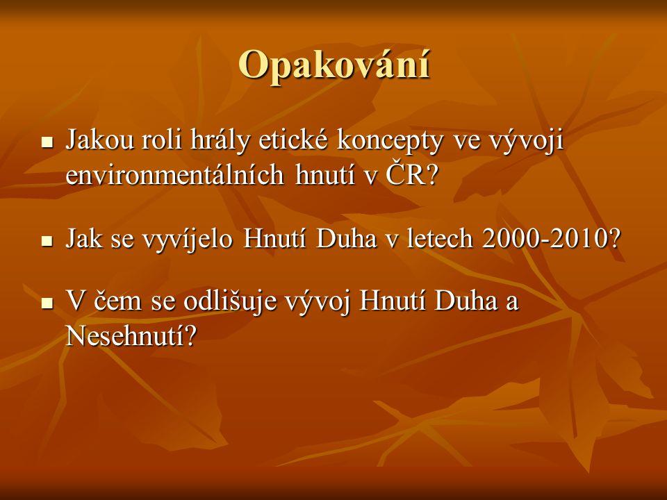 Opakování Jakou roli hrály etické koncepty ve vývoji environmentálních hnutí v ČR Jak se vyvíjelo Hnutí Duha v letech 2000-2010