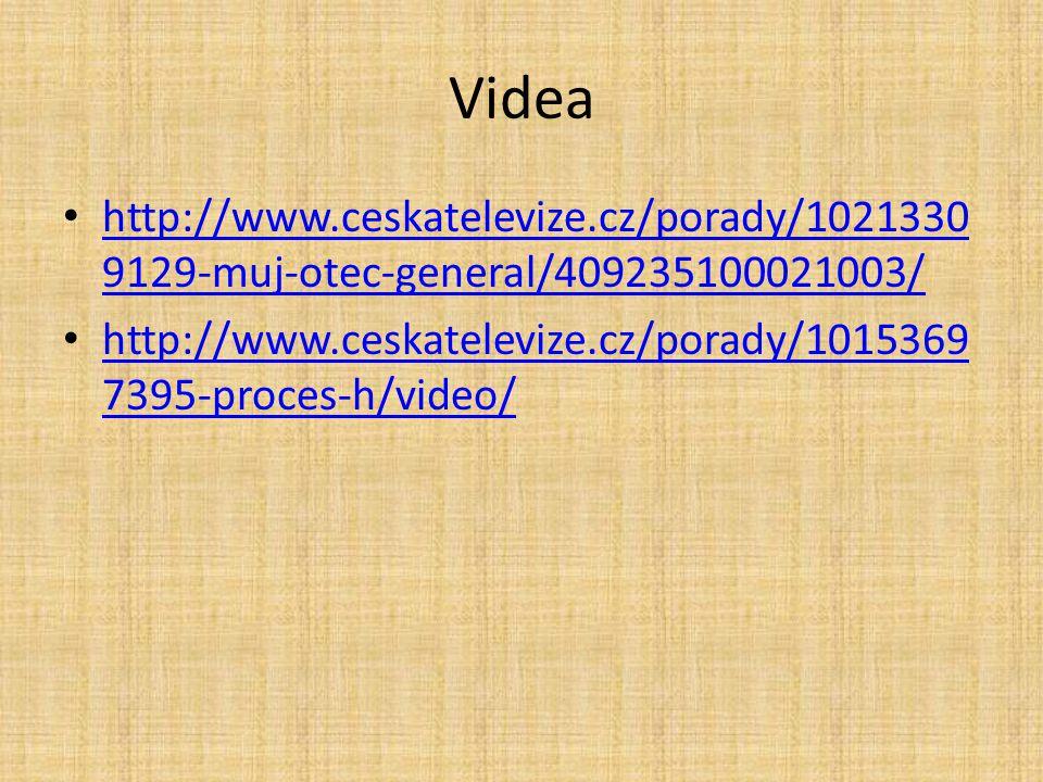 Videa http://www.ceskatelevize.cz/porady/10213309129-muj-otec-general/409235100021003/