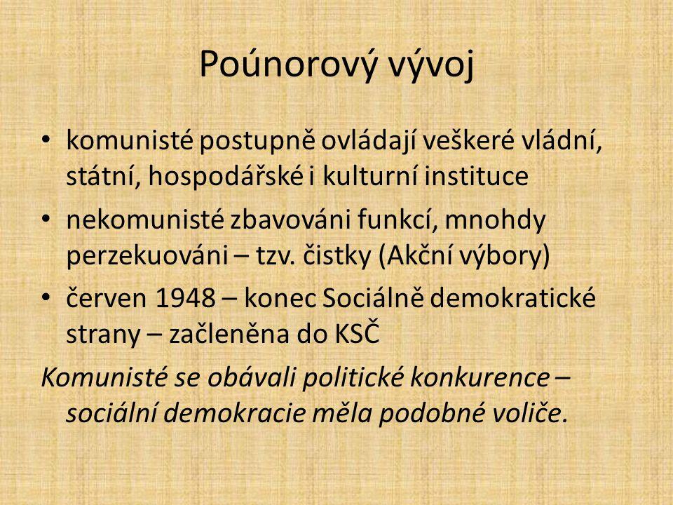 Poúnorový vývoj komunisté postupně ovládají veškeré vládní, státní, hospodářské i kulturní instituce.