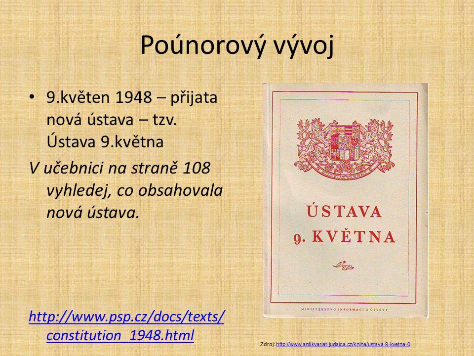 Poúnorový vývoj 9.květen 1948 – přijata nová ústava – tzv. Ústava 9.května. V učebnici na straně 108 vyhledej, co obsahovala nová ústava.