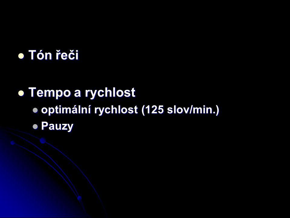 Tón řeči Tempo a rychlost optimální rychlost (125 slov/min.) Pauzy
