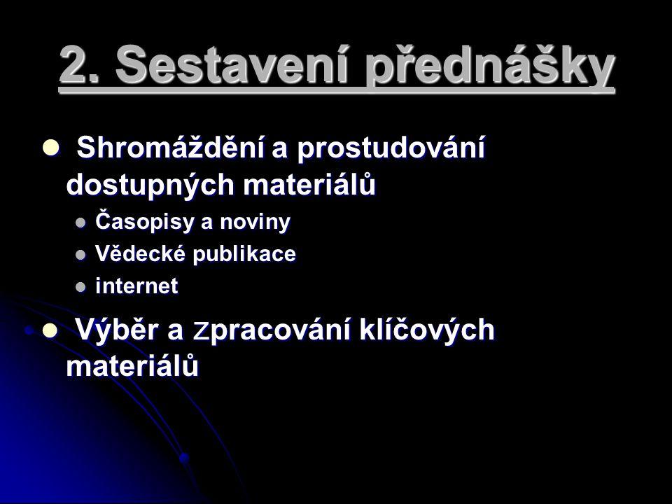 2. Sestavení přednášky Shromáždění a prostudování dostupných materiálů