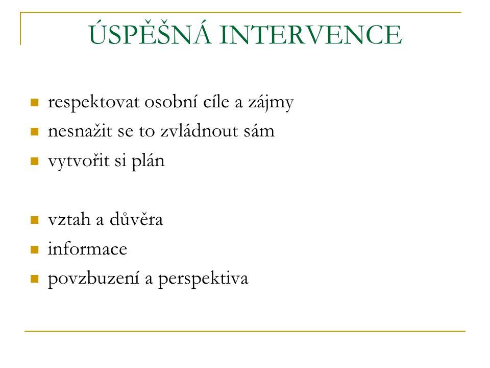 ÚSPĚŠNÁ INTERVENCE respektovat osobní cíle a zájmy