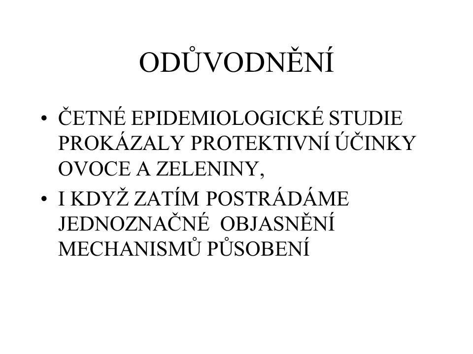 ODŮVODNĚNÍ ČETNÉ EPIDEMIOLOGICKÉ STUDIE PROKÁZALY PROTEKTIVNÍ ÚČINKY OVOCE A ZELENINY,
