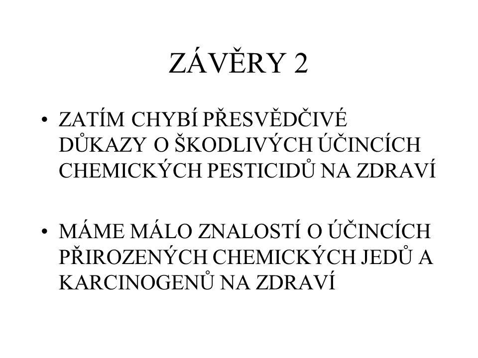 ZÁVĚRY 2 ZATÍM CHYBÍ PŘESVĚDČIVÉ DŮKAZY O ŠKODLIVÝCH ÚČINCÍCH CHEMICKÝCH PESTICIDŮ NA ZDRAVÍ.