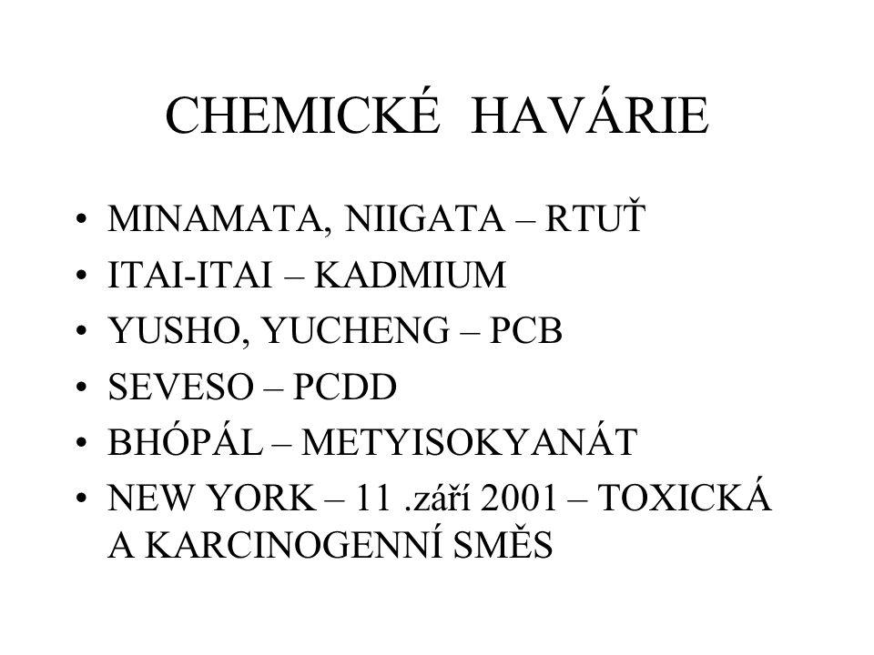 CHEMICKÉ HAVÁRIE MINAMATA, NIIGATA – RTUŤ ITAI-ITAI – KADMIUM