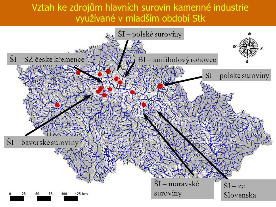 Vztah ke zdrojům hlavních surovin kamenné industrie využívané v mladším období Stk