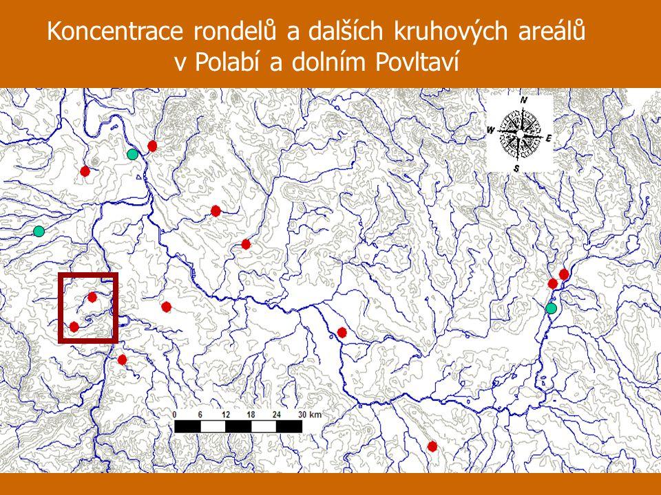 Koncentrace rondelů a dalších kruhových areálů v Polabí a dolním Povltaví