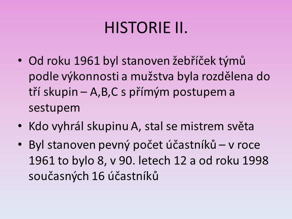 HISTORIE II. Od roku 1961 byl stanoven žebříček týmů podle výkonnosti a mužstva byla rozdělena do tří skupin – A,B,C s přímým postupem a sestupem.