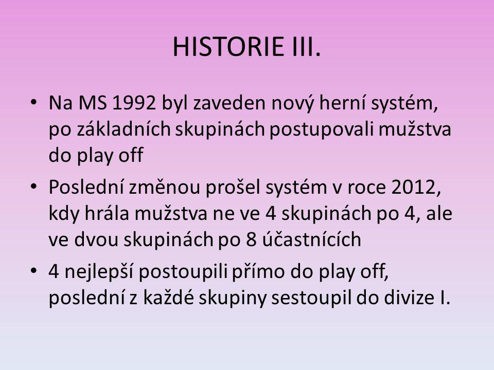 HISTORIE III. Na MS 1992 byl zaveden nový herní systém, po základních skupinách postupovali mužstva do play off.