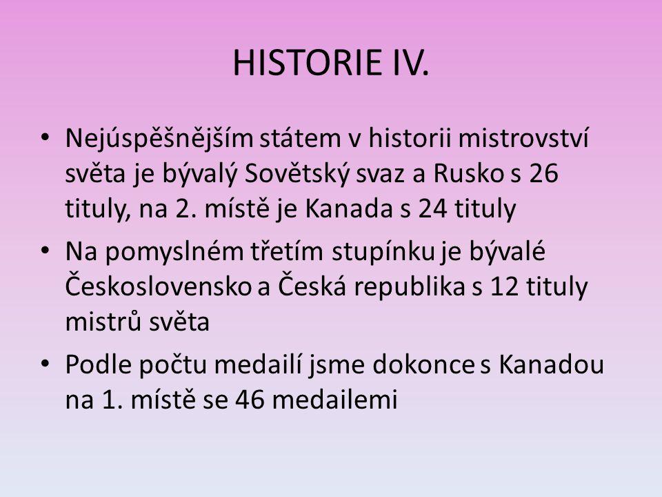 HISTORIE IV. Nejúspěšnějším státem v historii mistrovství světa je bývalý Sovětský svaz a Rusko s 26 tituly, na 2. místě je Kanada s 24 tituly.