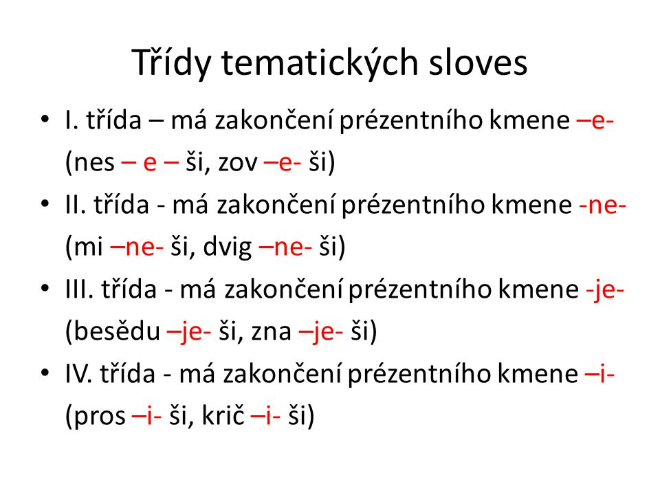 Třídy tematických sloves