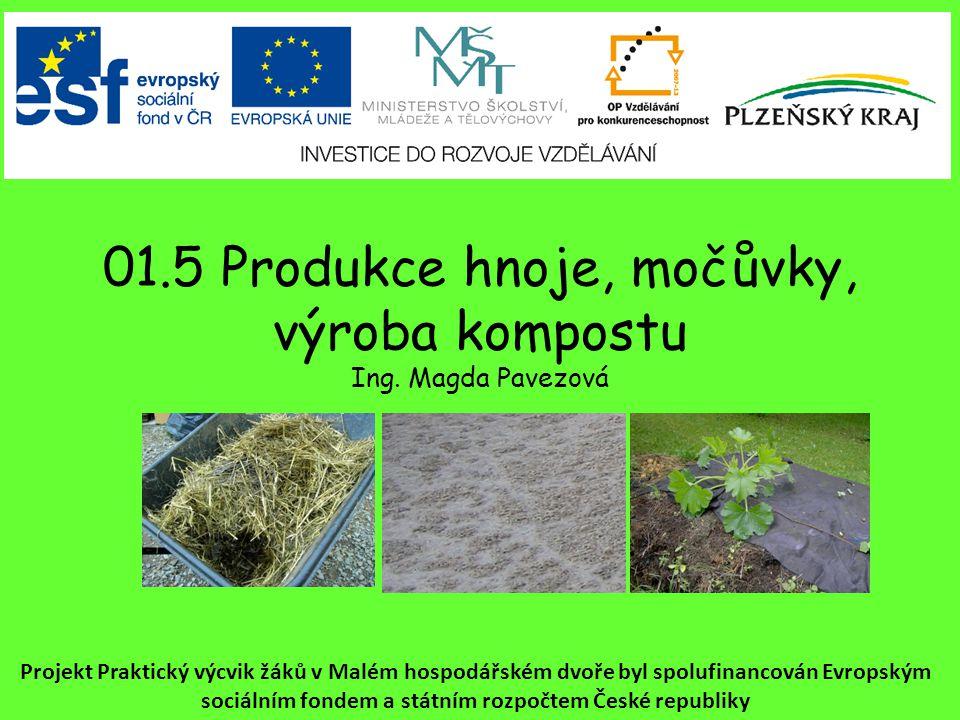 01.5 Produkce hnoje, močůvky, výroba kompostu Ing. Magda Pavezová