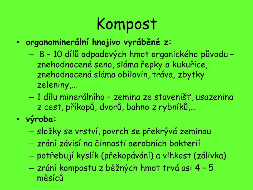 Kompost organominerální hnojivo vyráběné z:
