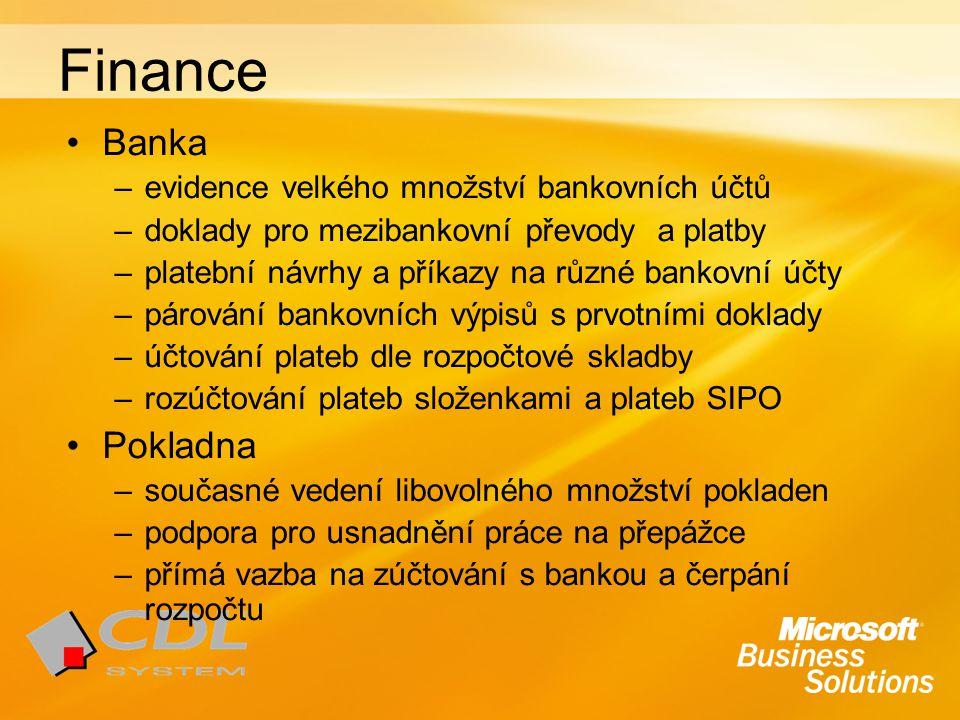 Finance Banka Pokladna evidence velkého množství bankovních účtů
