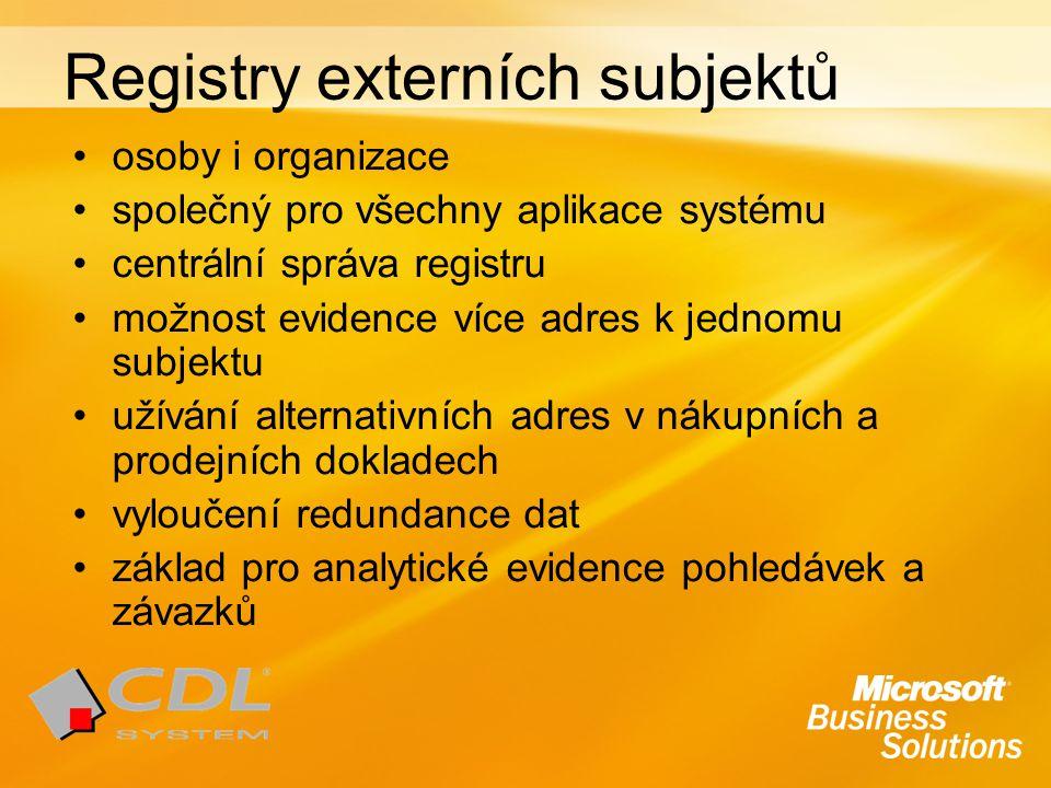 Registry externích subjektů