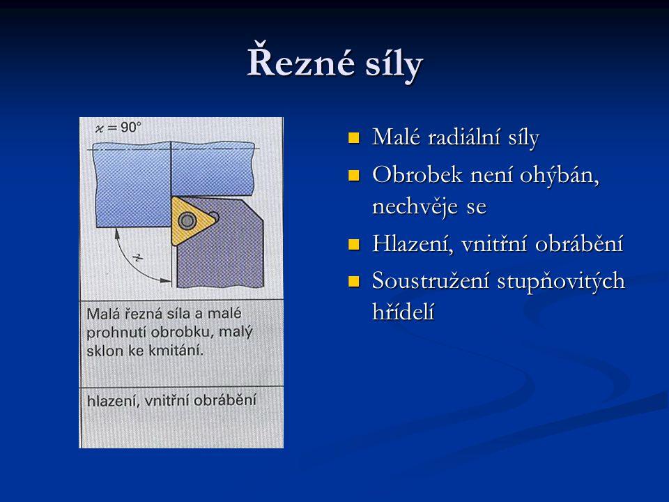 Řezné síly Malé radiální síly Obrobek není ohýbán, nechvěje se