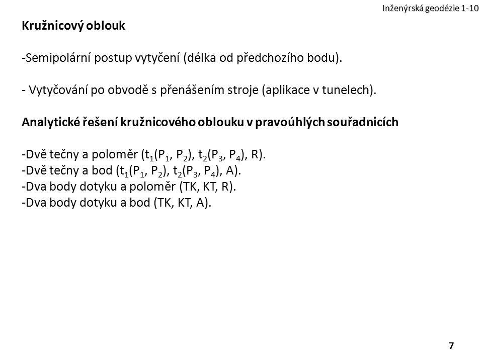 Semipolární postup vytyčení (délka od předchozího bodu).