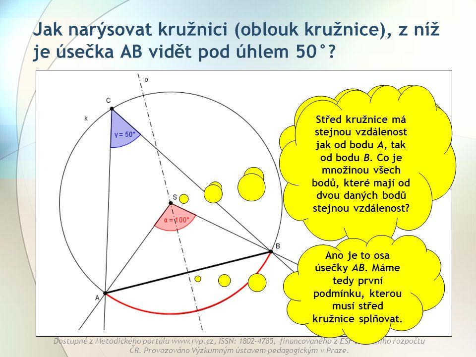 Jak narýsovat kružnici (oblouk kružnice), z níž je úsečka AB vidět pod úhlem 50°
