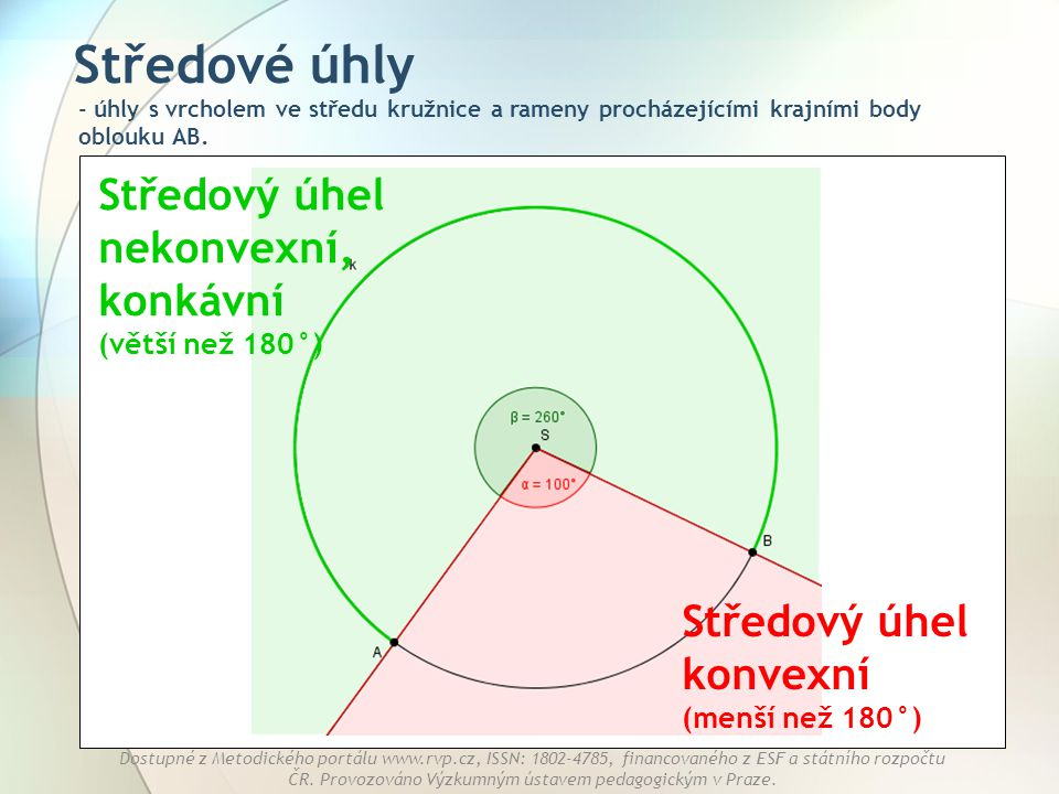 Středové úhly Středový úhel nekonvexní, konkávní (větší než 180°)