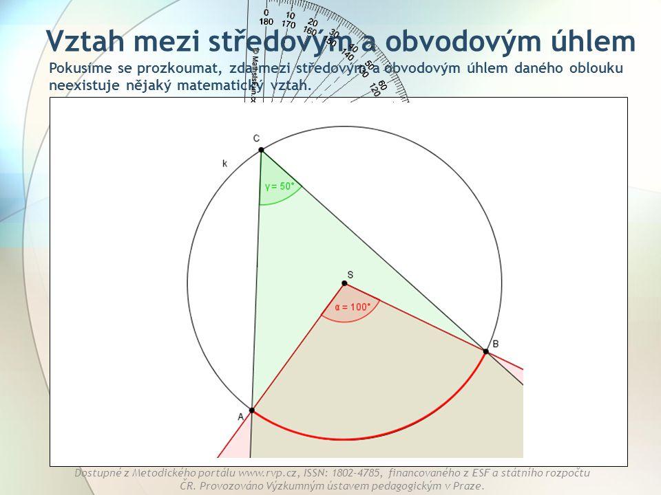 Vztah mezi středovým a obvodovým úhlem