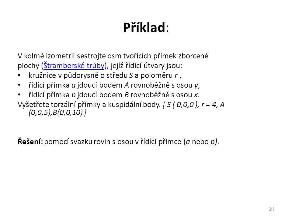 Příklad: V kolmé izometrii sestrojte osm tvořících přímek zborcené