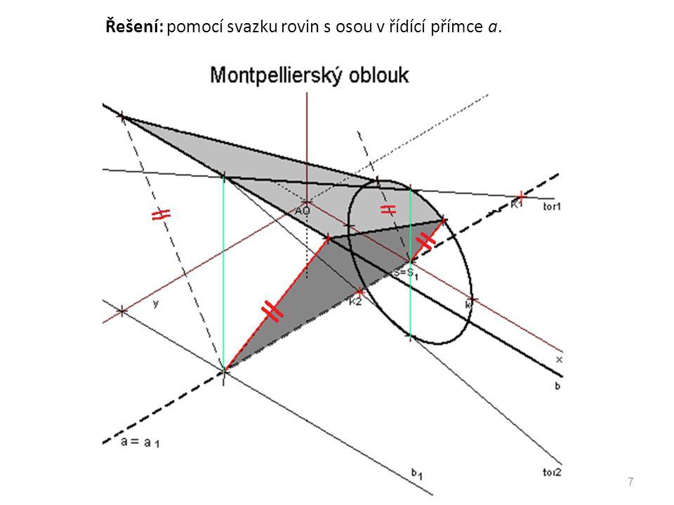 Řešení: pomocí svazku rovin s osou v řídící přímce a.