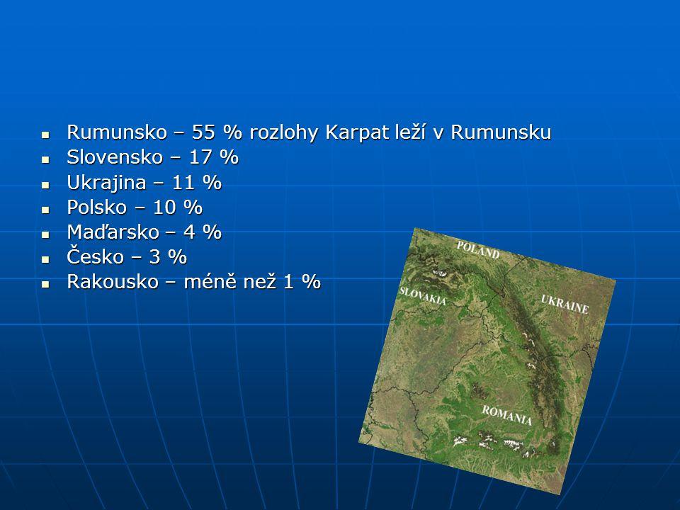 Rumunsko – 55 % rozlohy Karpat leží v Rumunsku