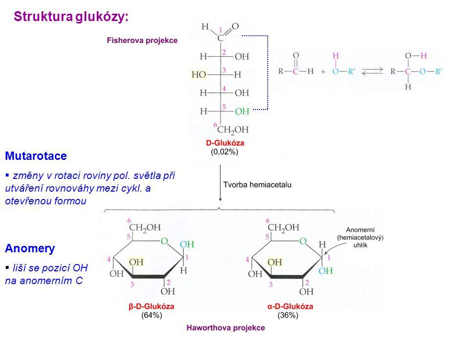 Struktura glukózy: Mutarotace Anomery