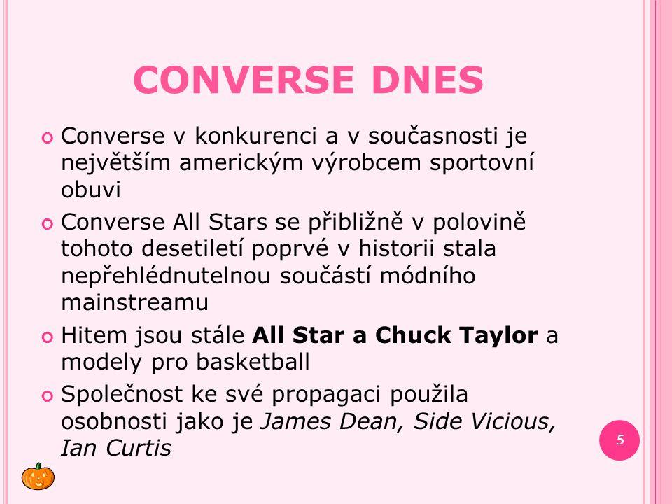 Converse dnes Converse v konkurenci a v současnosti je největším americkým výrobcem sportovní obuvi.