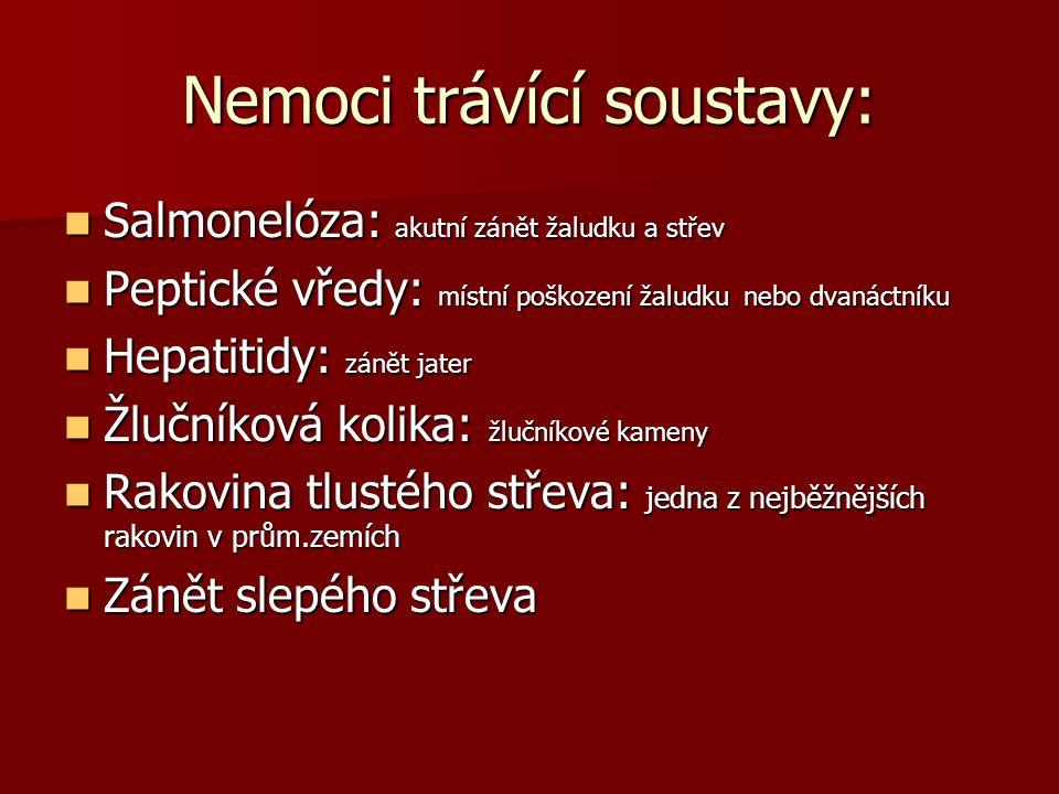 Nemoci trávící soustavy:
