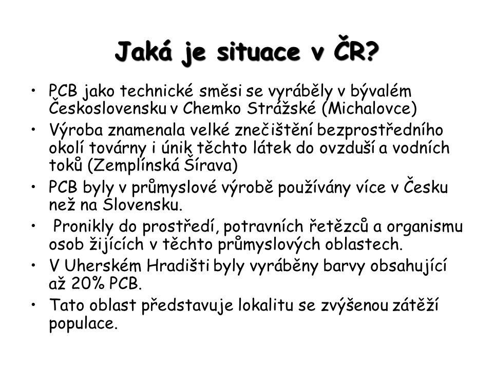 Jaká je situace v ČR PCB jako technické směsi se vyráběly v bývalém Československu v Chemko Strážské (Michalovce)
