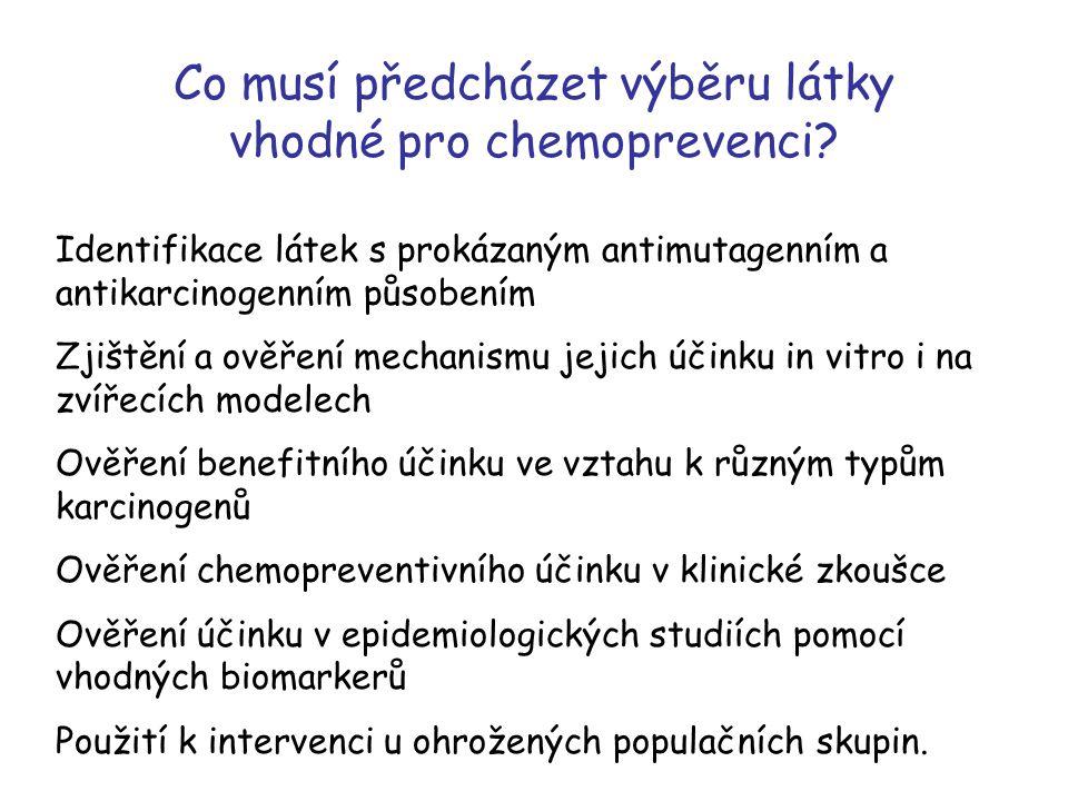 Co musí předcházet výběru látky vhodné pro chemoprevenci