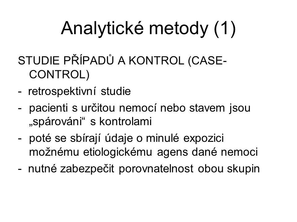 Analytické metody (1) STUDIE PŘÍPADŮ A KONTROL (CASE-CONTROL)