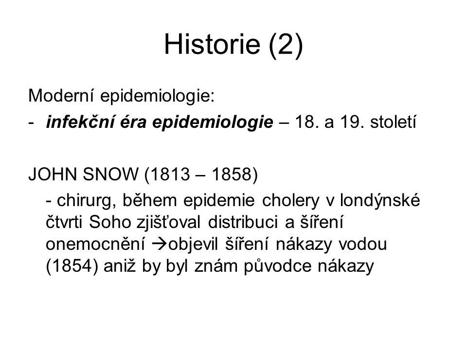 Historie (2) Moderní epidemiologie: