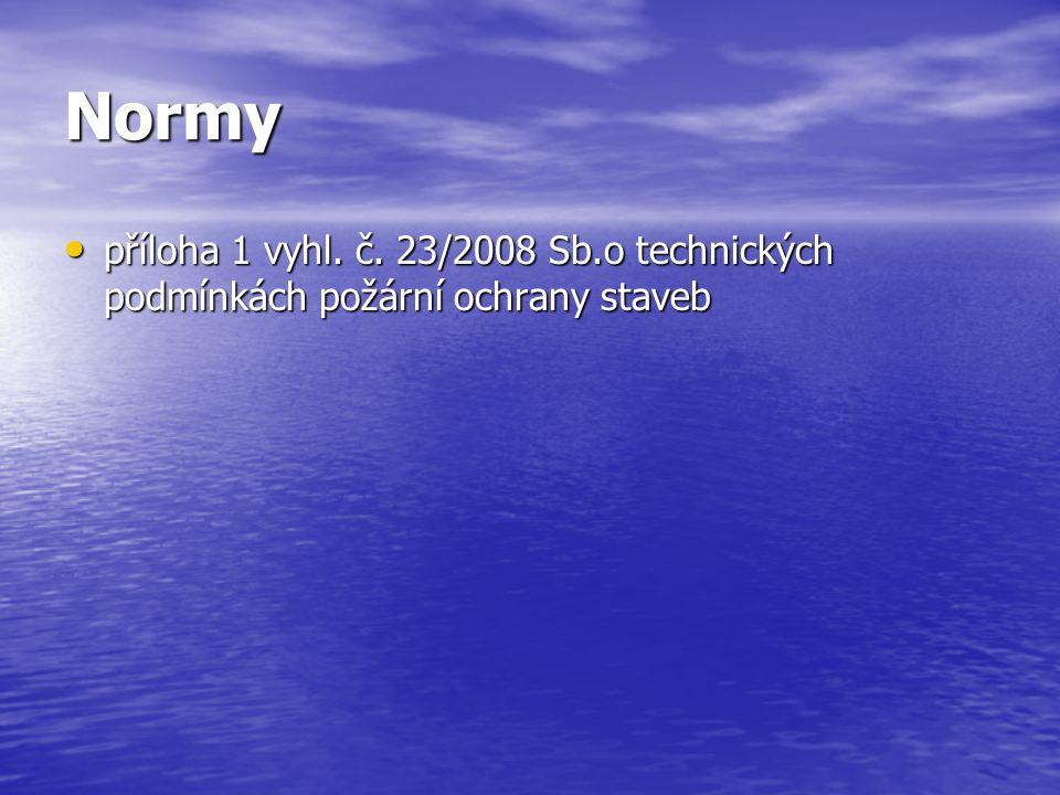 Normy příloha 1 vyhl. č. 23/2008 Sb.o technických podmínkách požární ochrany staveb