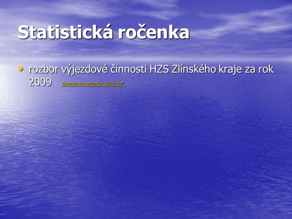 Statistická ročenka rozbor výjezdové činnosti HZS Zlínského kraje za rok 2009 Statistická ročenka 2009.pdf.