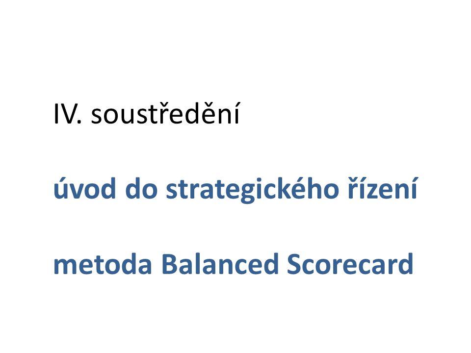 IV. soustředění úvod do strategického řízení metoda Balanced Scorecard