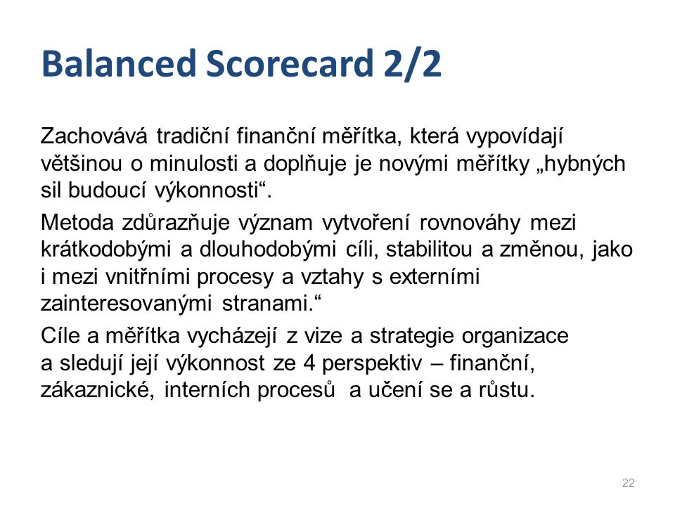 Balanced Scorecard 2/2