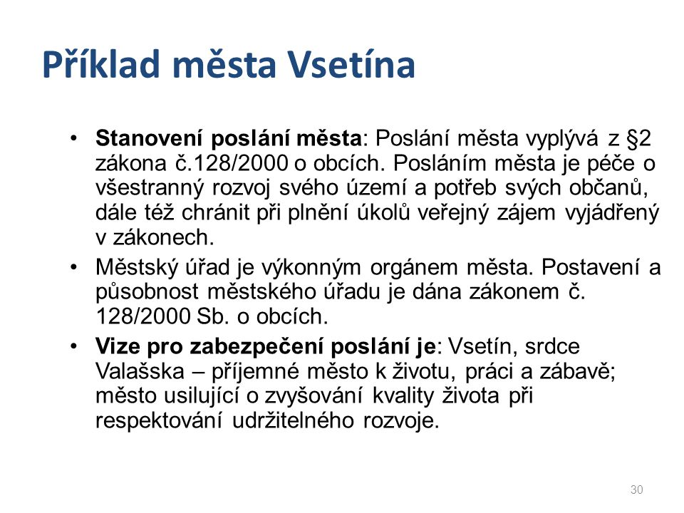 Příklad města Vsetína