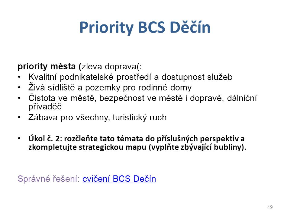 Priority BCS Děčín priority města (zleva doprava(: