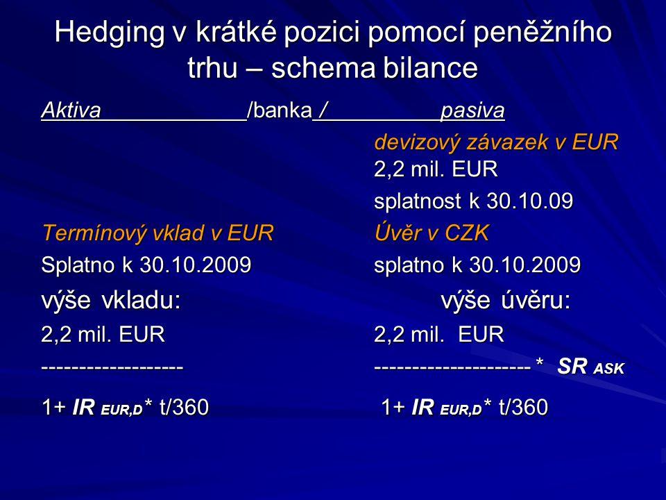 Hedging v krátké pozici pomocí peněžního trhu – schema bilance