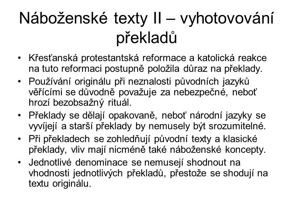 Náboženské texty II – vyhotovování překladů