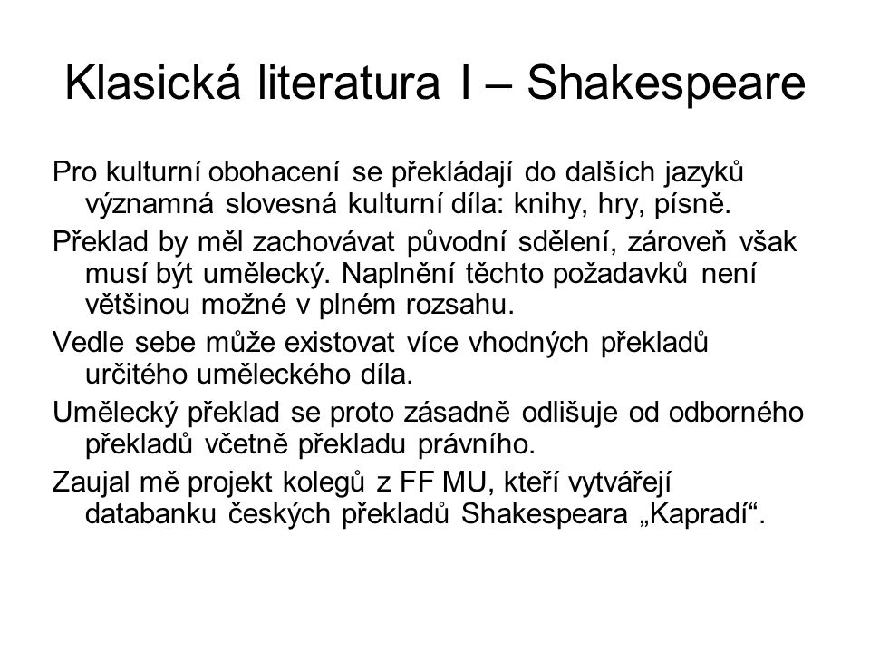 Klasická literatura I – Shakespeare
