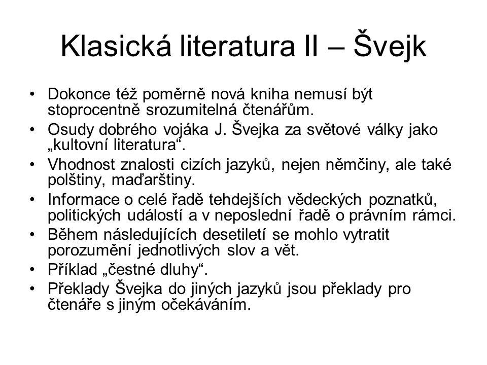 Klasická literatura II – Švejk